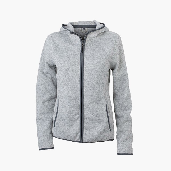Damen Strick-Fleece Jacke mit  Kapuze